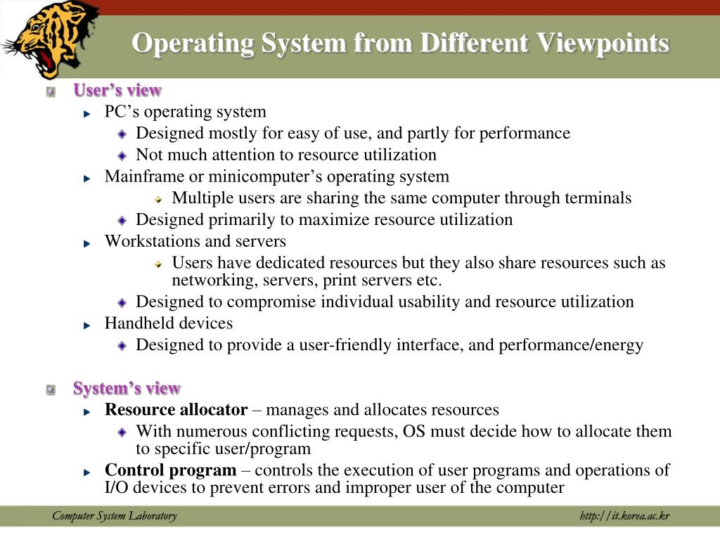 Operating System from Different Viewpoints