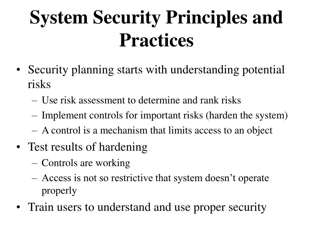 System Security Principles and Practices