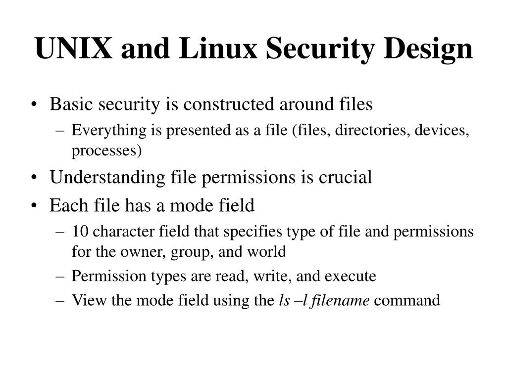 UNIX and Linux Security Design