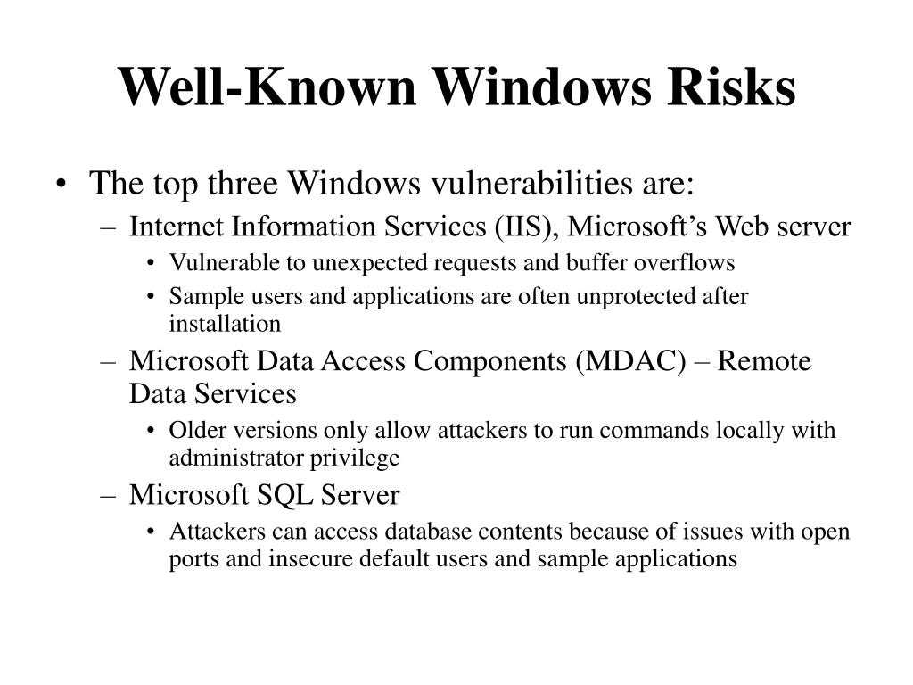 Well-Known Windows Risks