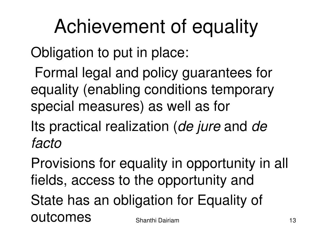 Achievement of equality