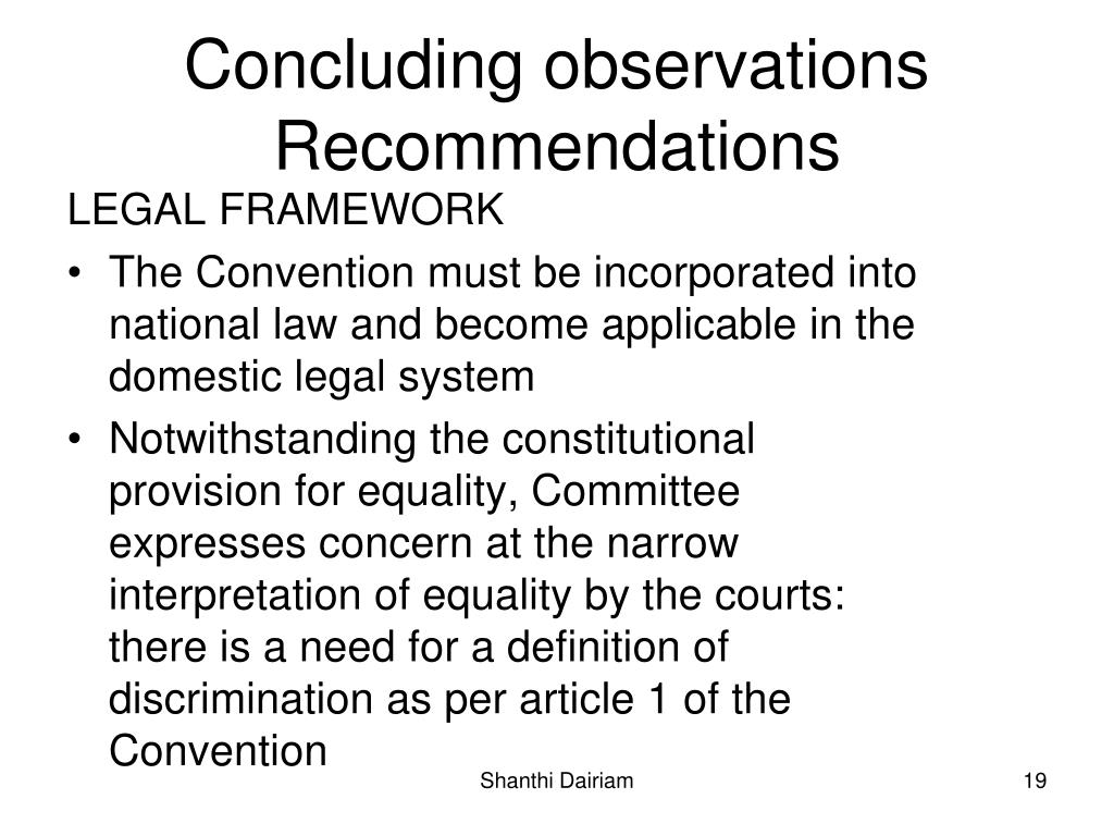 Concluding observations Recommendations