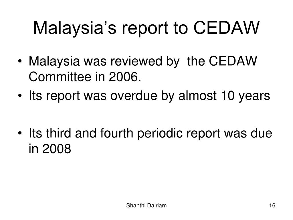 Malaysia's report to CEDAW