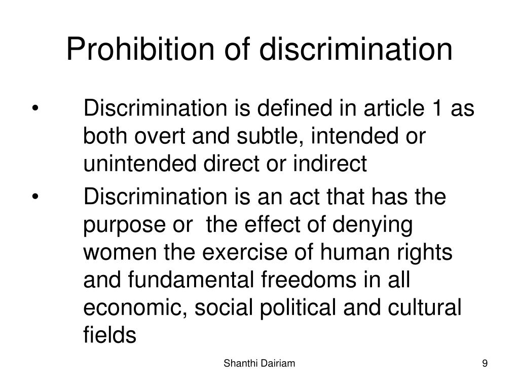 Prohibition of discrimination
