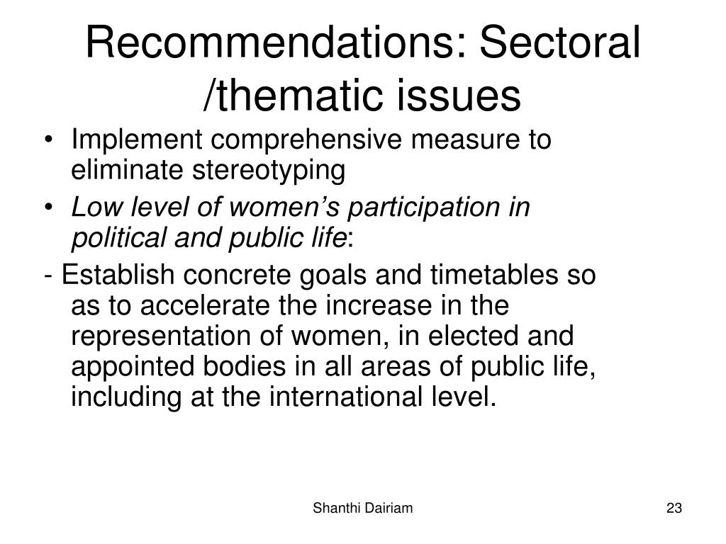 Recommendations: Sectoral /thematic issues