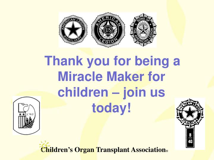 Thank you for being a Miracle Maker for children – join us today!
