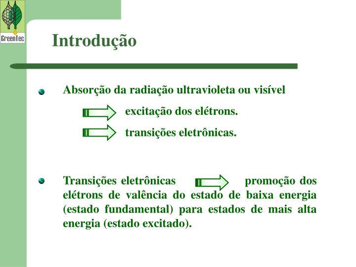 Absorção da radiação ultravioleta ou visível