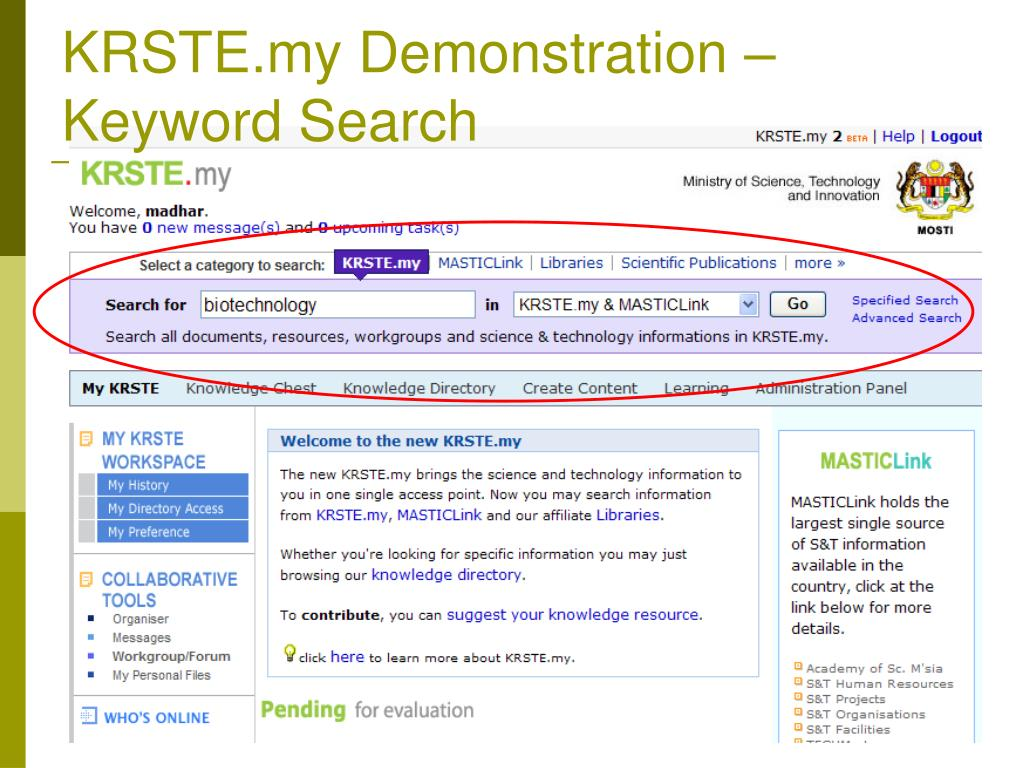 KRSTE.my Demonstration – Keyword Search
