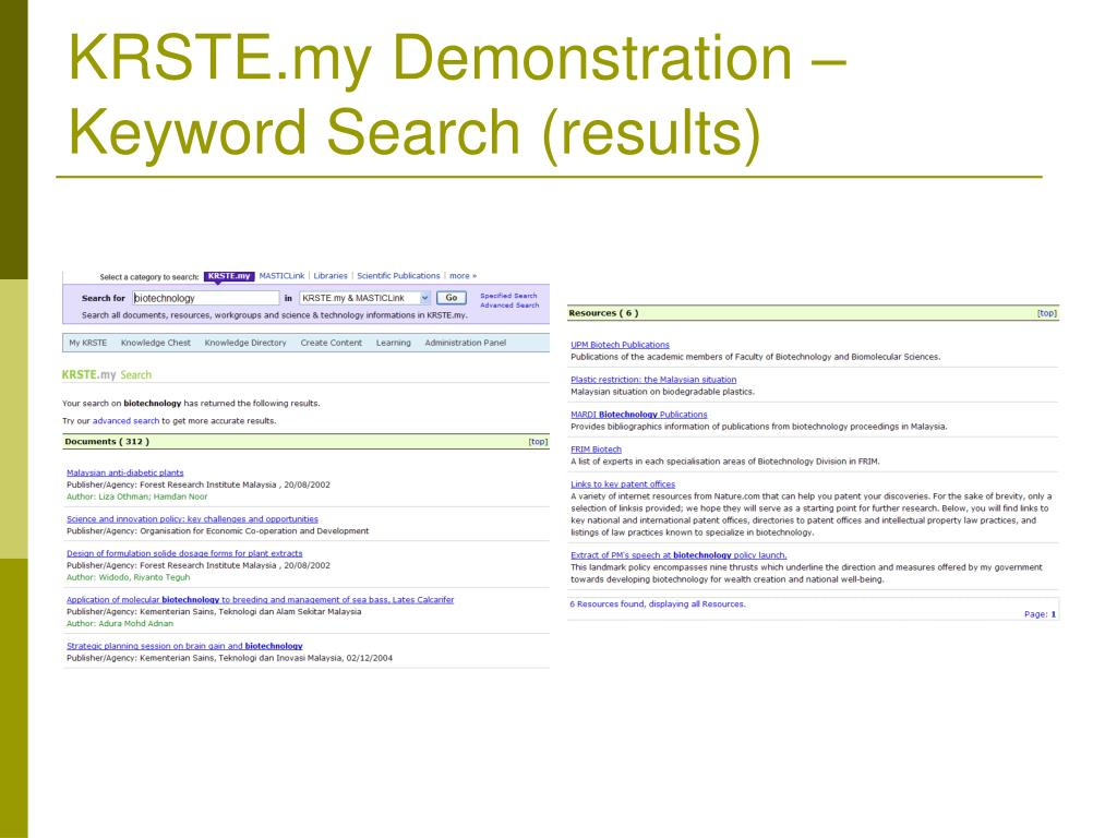 KRSTE.my Demonstration – Keyword Search (results)