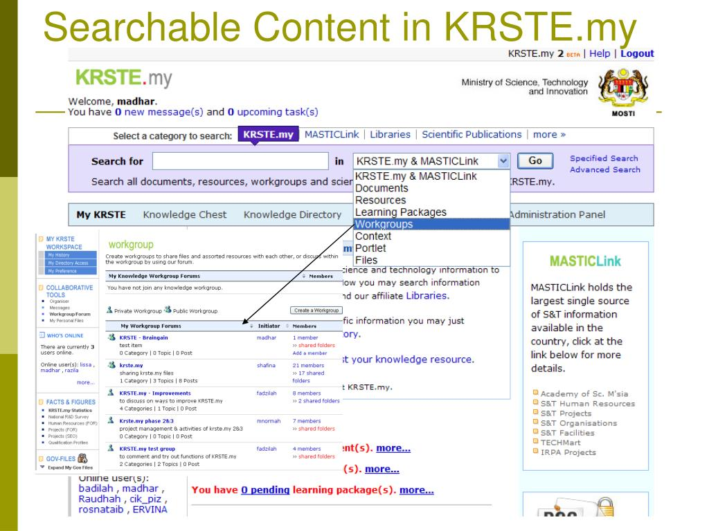Searchable Content in KRSTE.my