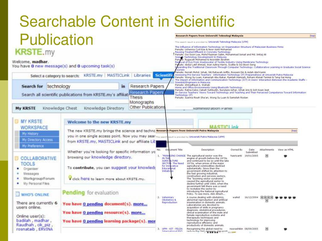 Searchable Content in Scientific Publication