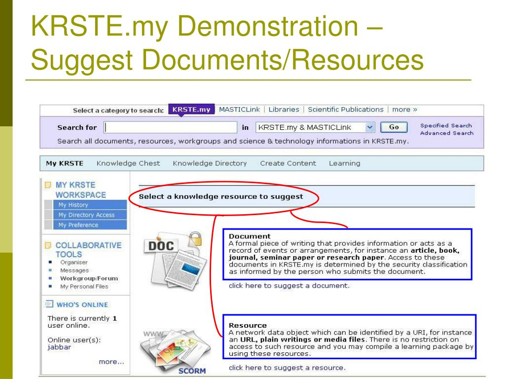KRSTE.my Demonstration –Suggest Documents/Resources