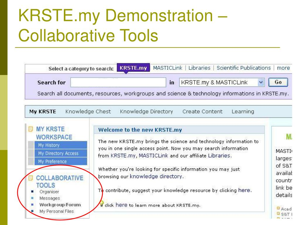 KRSTE.my Demonstration –Collaborative Tools