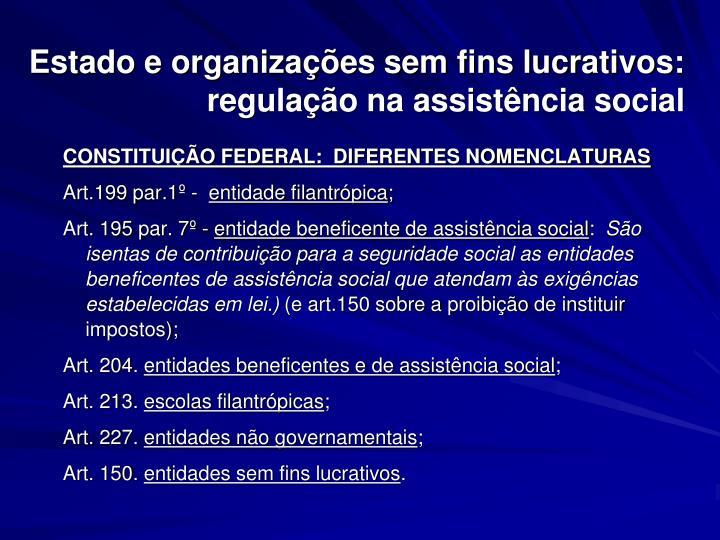 Estado e organizações sem fins lucrativos: regulação na assistência social