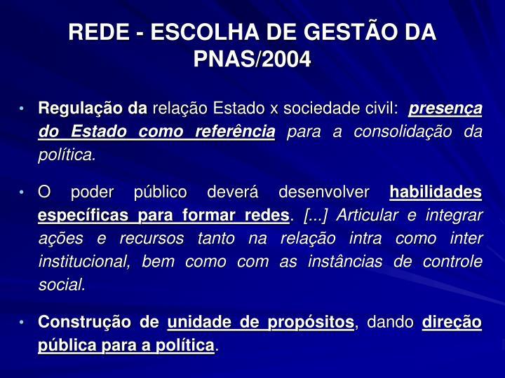 REDE - ESCOLHA DE GESTÃO DA PNAS/2004