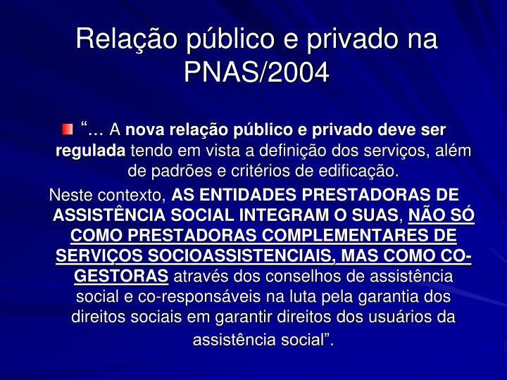 Relação público e privado na PNAS/2004