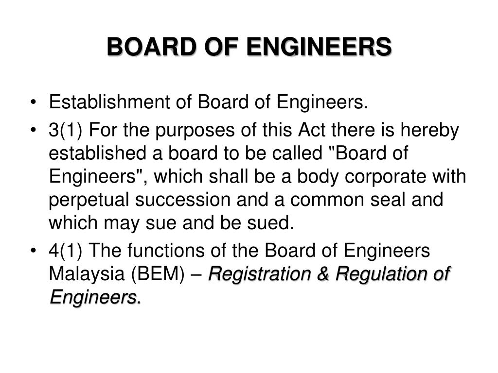 BOARD OF ENGINEERS