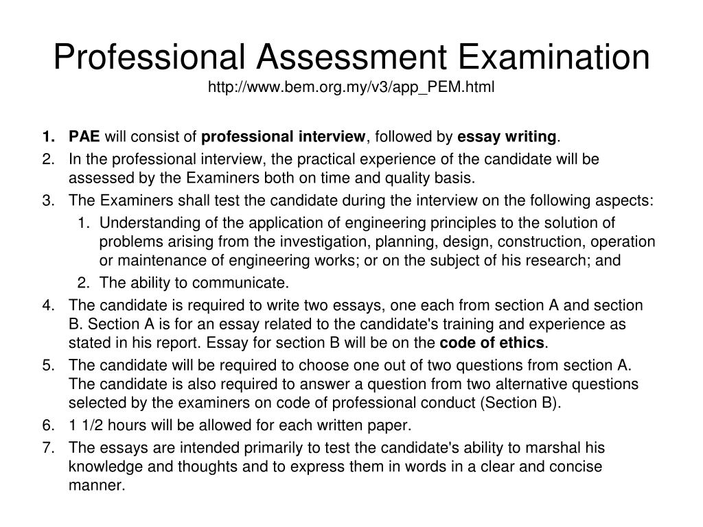 Professional Assessment Examination