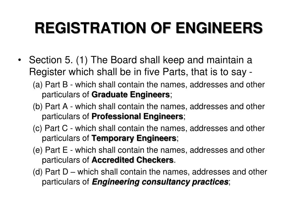 REGISTRATION OF ENGINEERS
