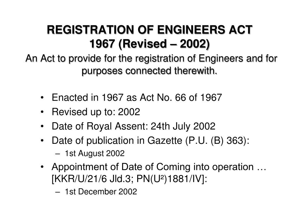 REGISTRATION OF ENGINEERS ACT
