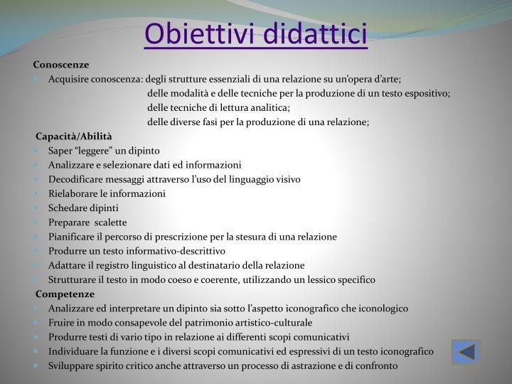 Obiettivi didattici