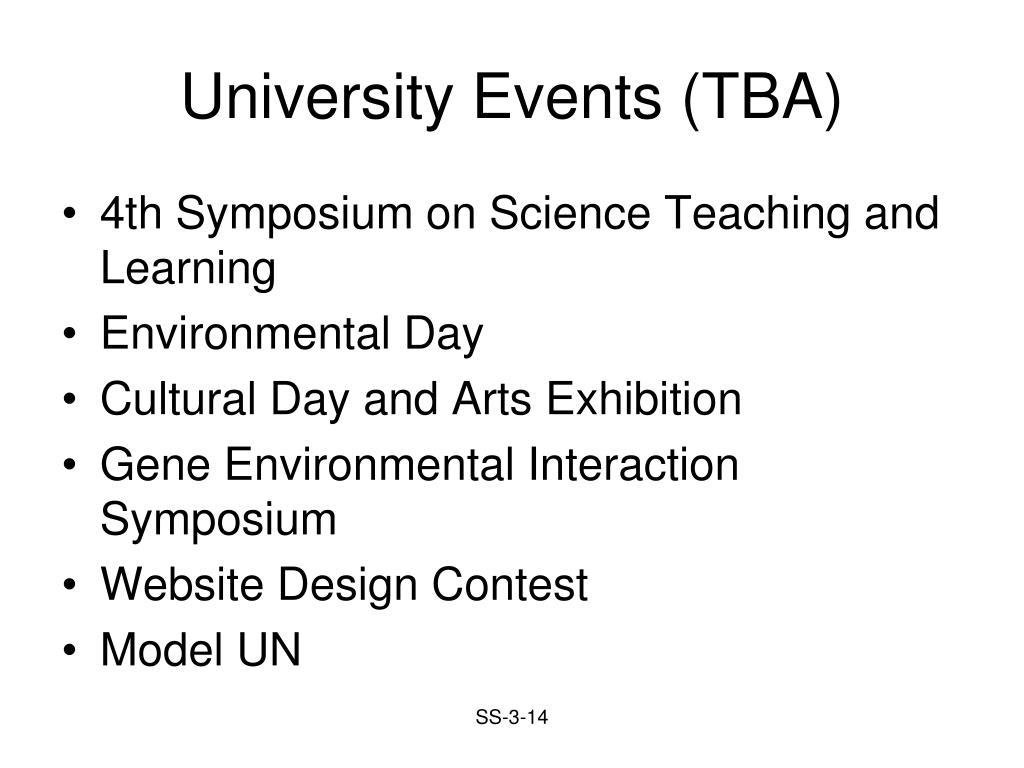 University Events (TBA)