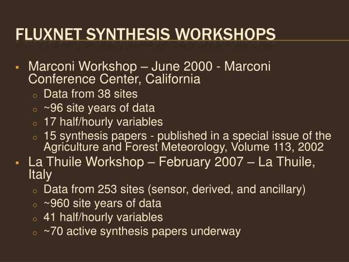 Fluxnet synthesis workshops