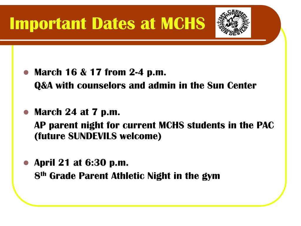 Important Dates at MCHS
