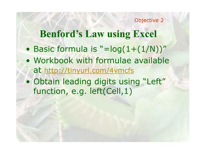 Benford's Law using Excel