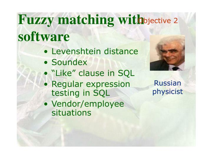 Fuzzy matching with software