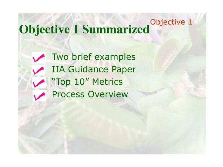 Objective 1 Summarized