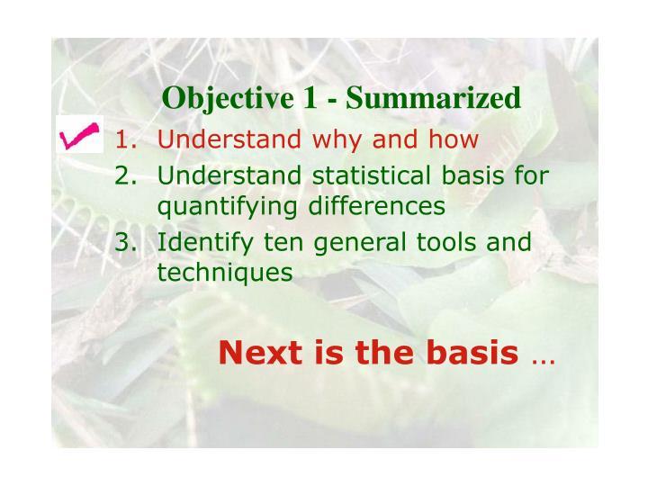 Objective 1 - Summarized