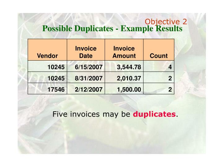 Possible Duplicates - Example Results