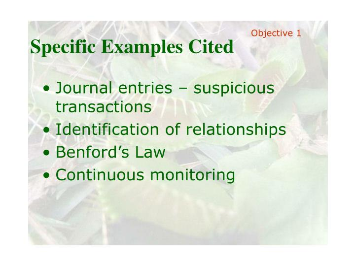 Specific Examples Cited