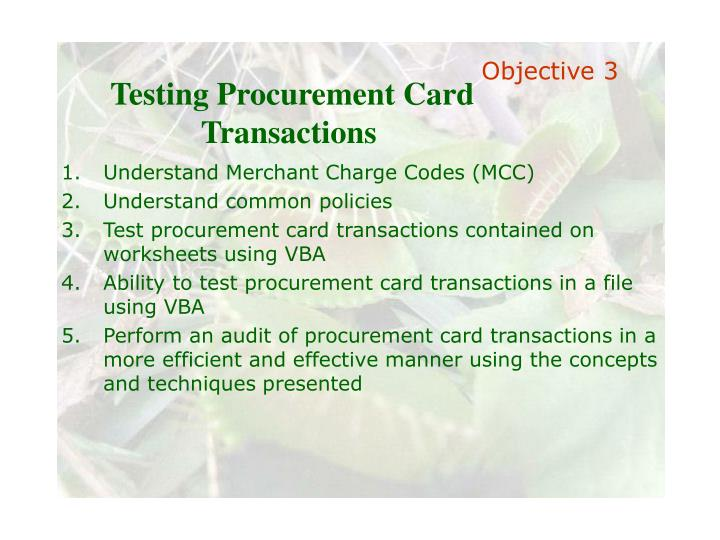 Testing Procurement Card Transactions