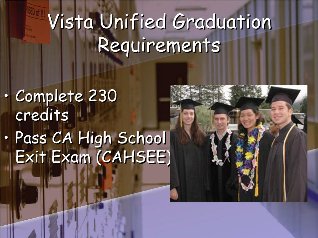 Vista Unified Graduation Requirements