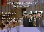 vista unified graduation requirements