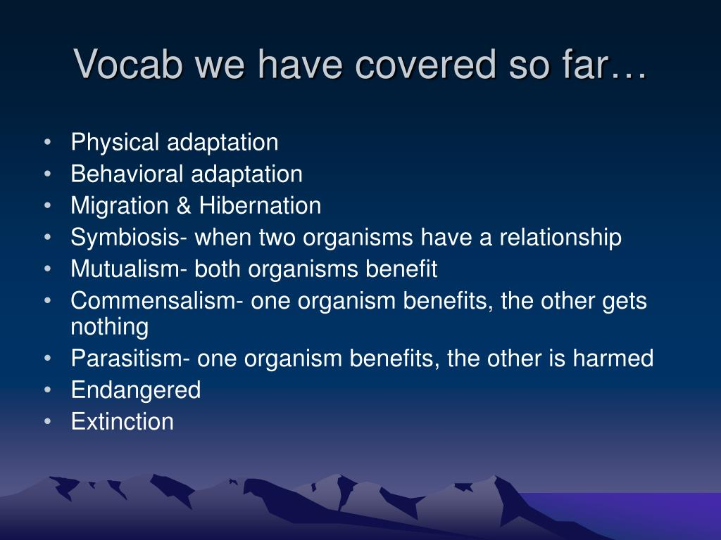 Vocab we have covered so far…