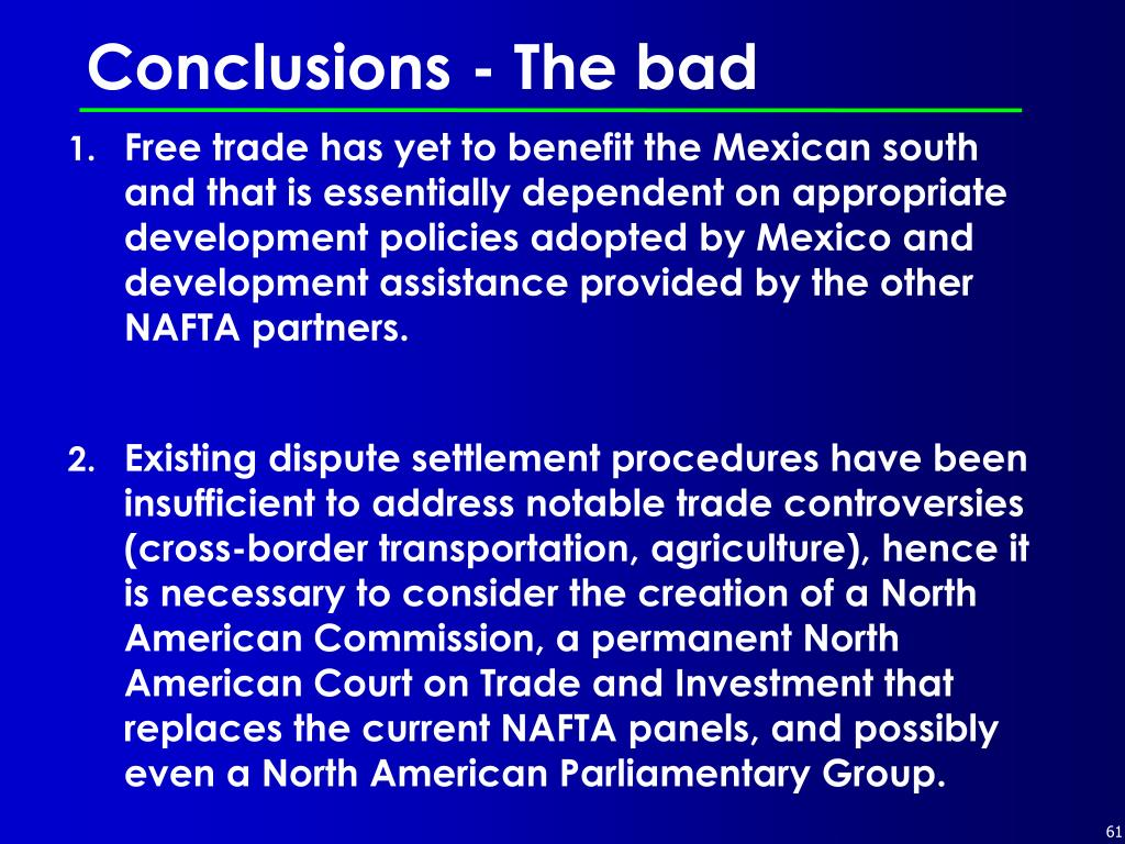 Conclusions - The bad