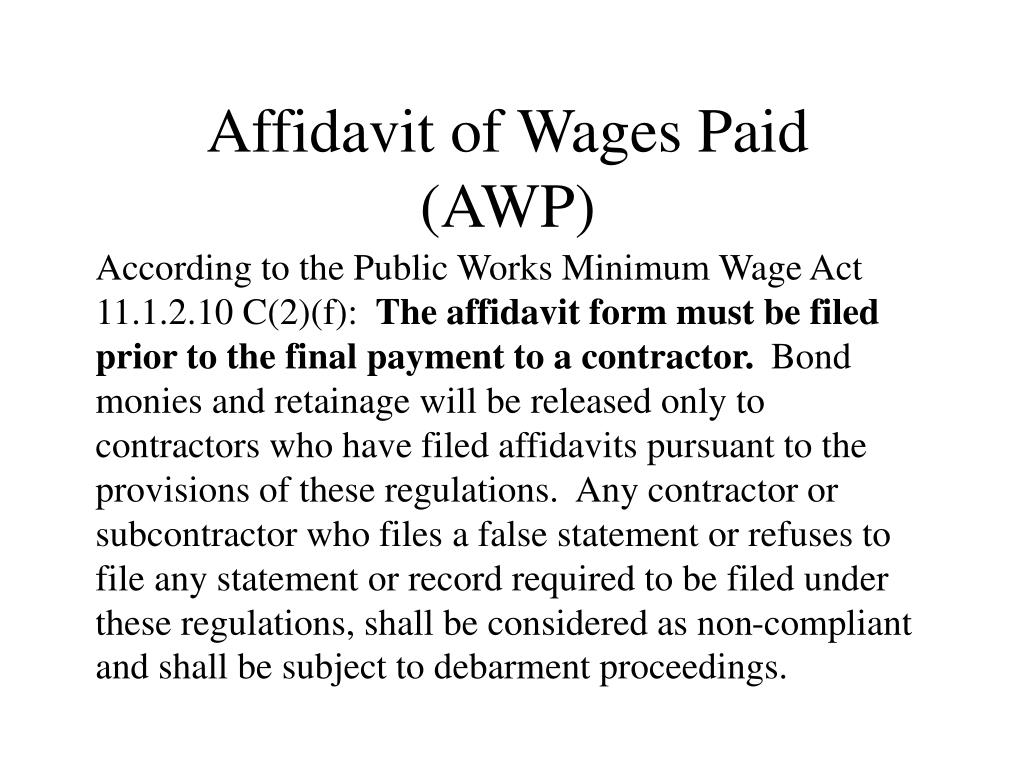 Affidavit of Wages Paid (AWP)