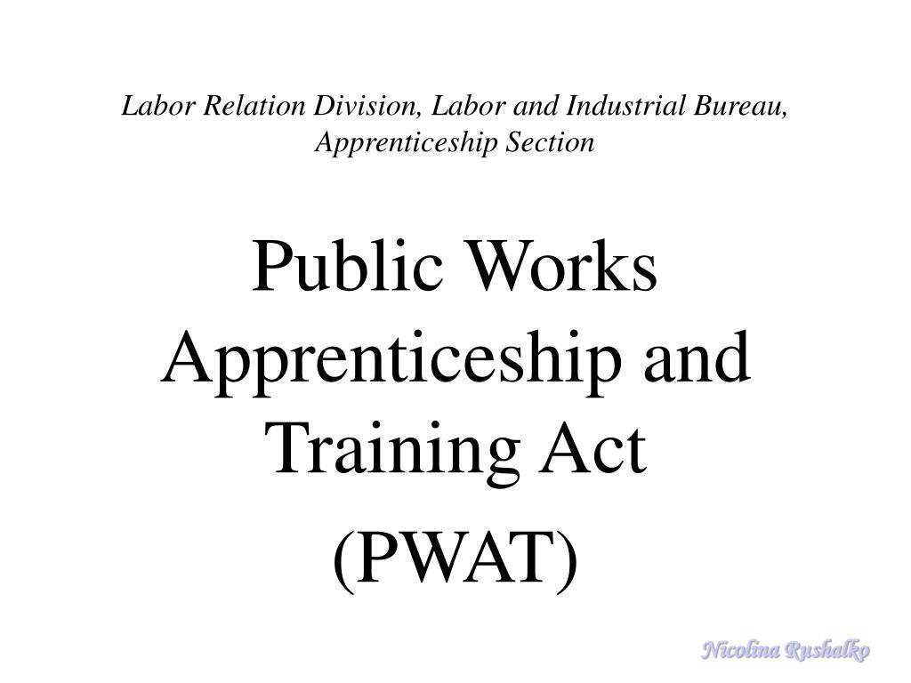 Labor Relation Division, Labor and Industrial Bureau, Apprenticeship Section