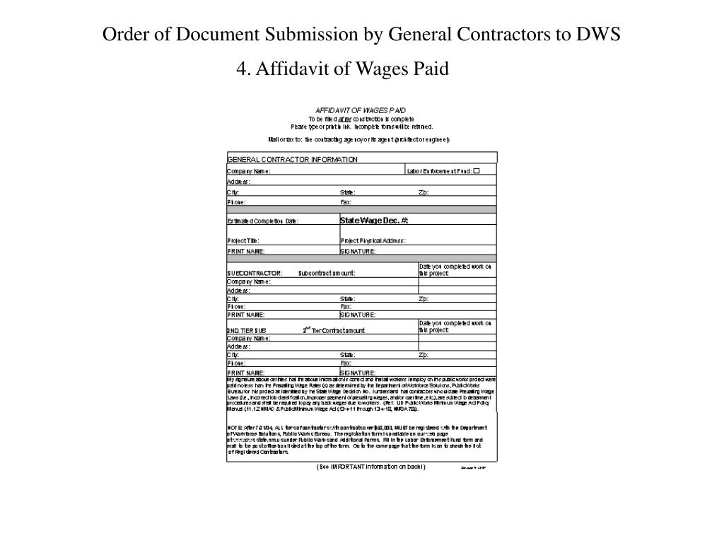Order of Document Submission by General Contractors to DWS