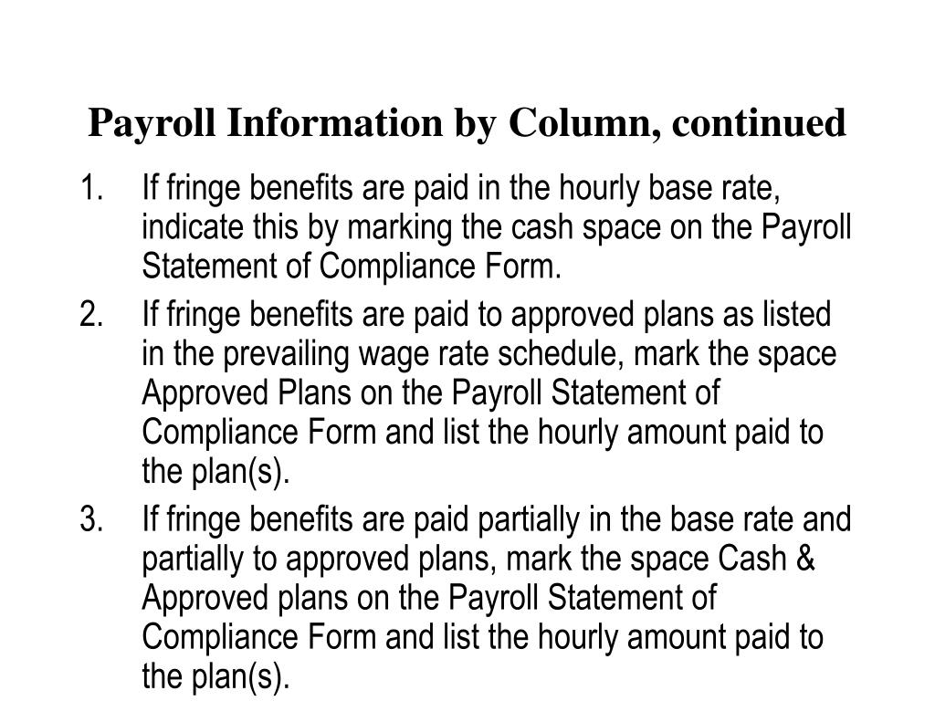 Payroll Information by Column, continued