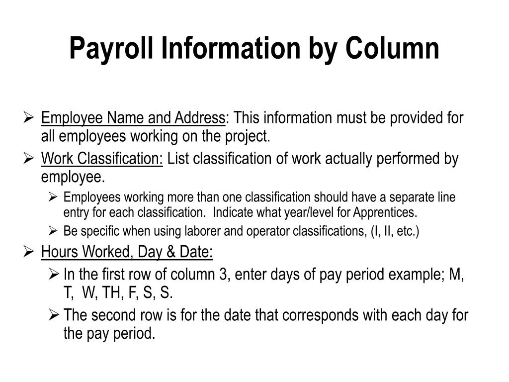 Payroll Information by Column
