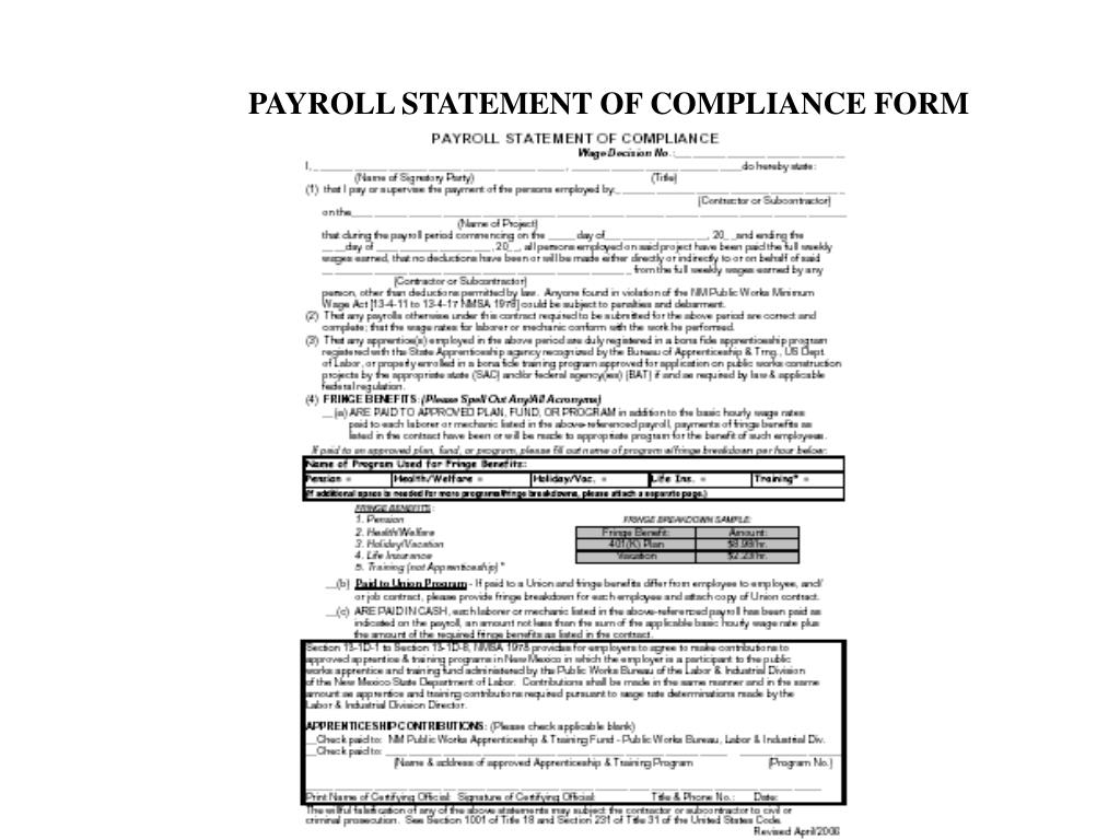 PAYROLL STATEMENT OF COMPLIANCE FORM