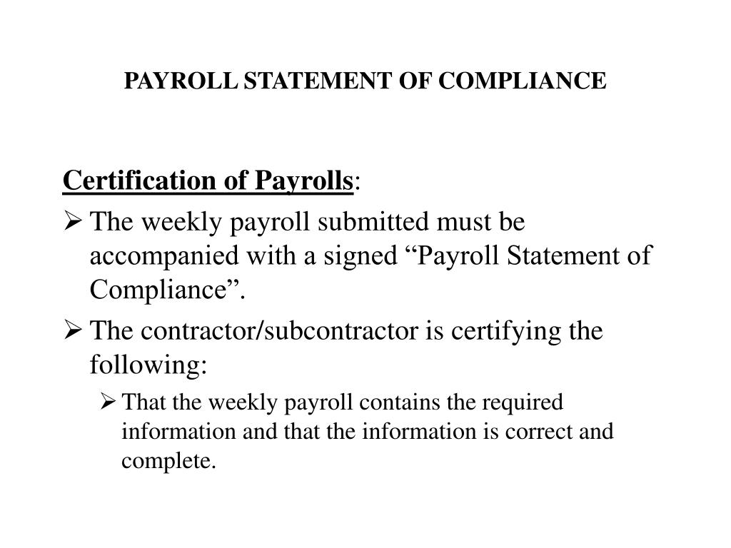 PAYROLL STATEMENT OF COMPLIANCE