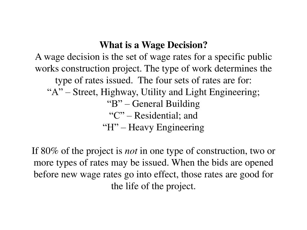 What is a Wage Decision?
