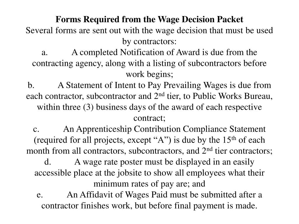 Forms Required from the Wage Decision Packet
