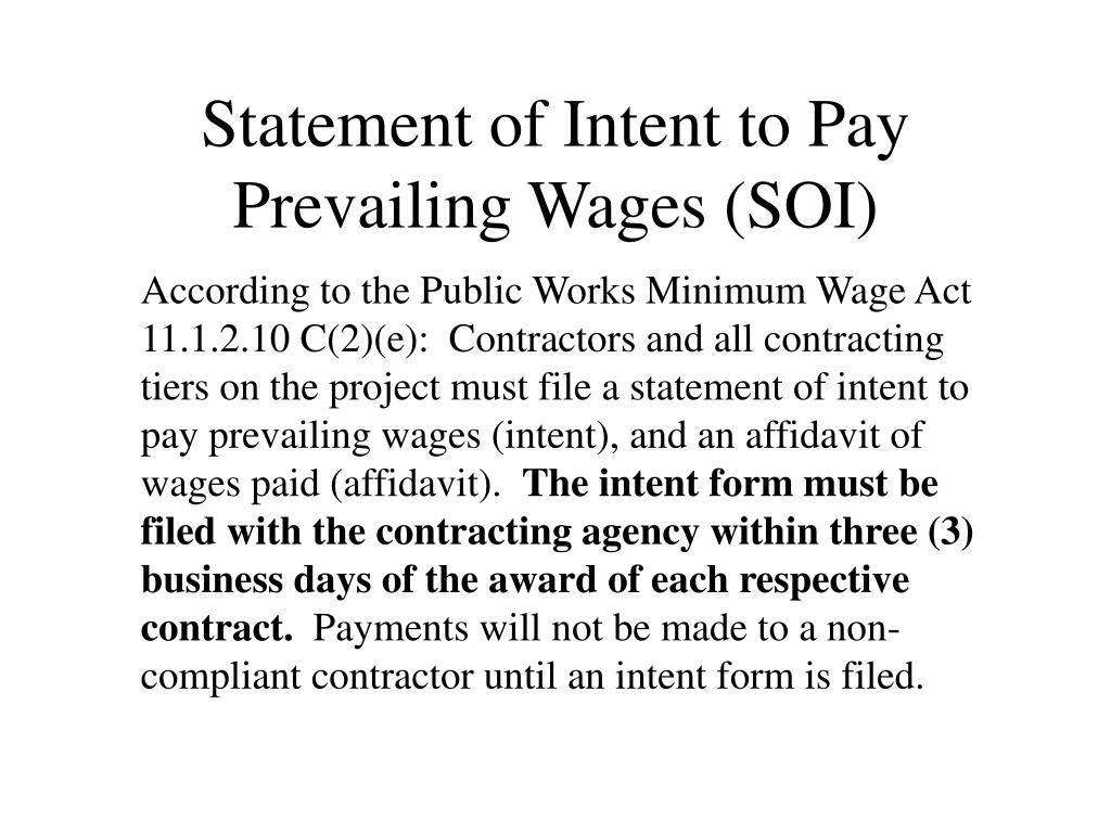 Statement of Intent to Pay Prevailing Wages (SOI)