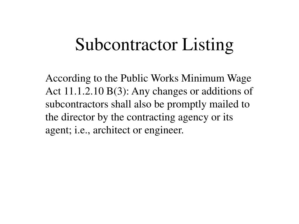 Subcontractor Listing